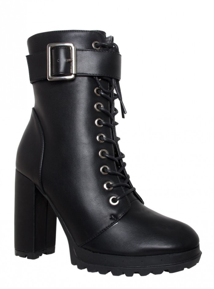 Simmi Jade Black Lace Up Platform Block Heel Ankle Boots