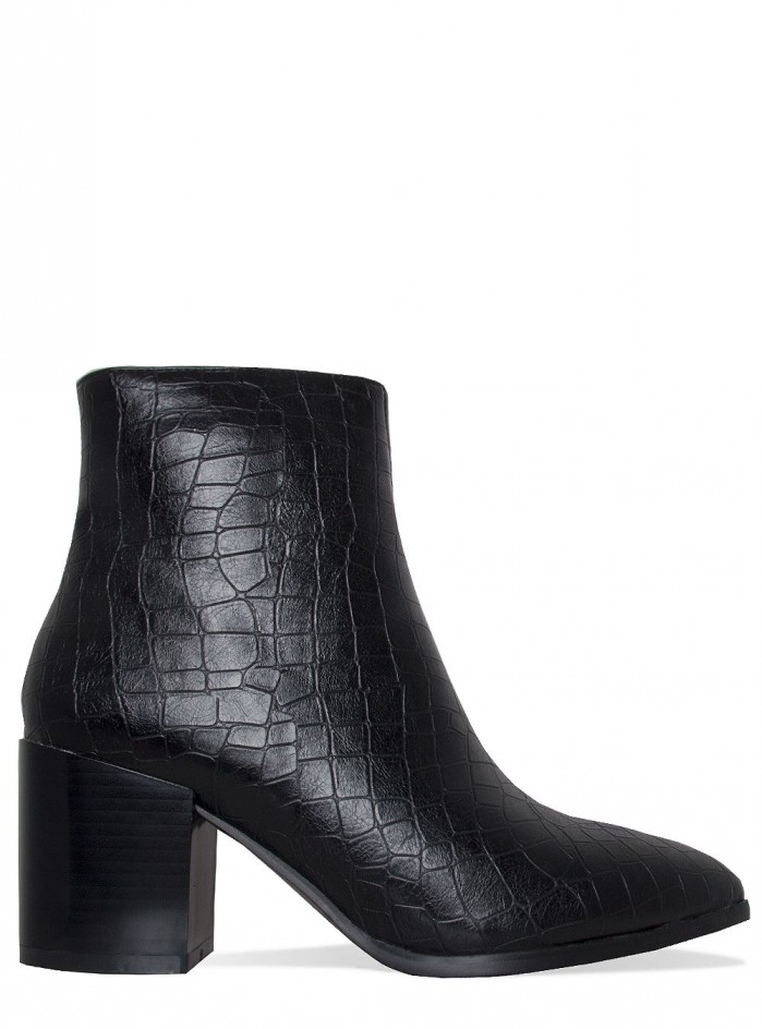Simmi Anya Black Croc Block Heel Ankle Boots Shoes Post