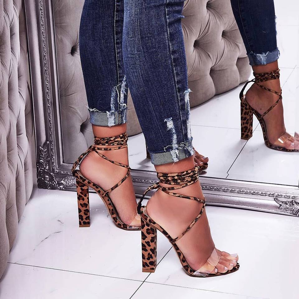 a0a5d51e5b4 EGO Bello Perspex Lace Up Block Heel In Tan Leopard Print Faux Suede ...
