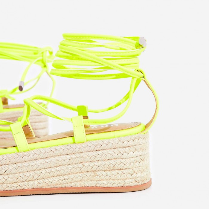 4f674b5c9da2 EGO Sophina Lace Up Espadrille Flatform Sandal In Neon Yellow Faux Leather