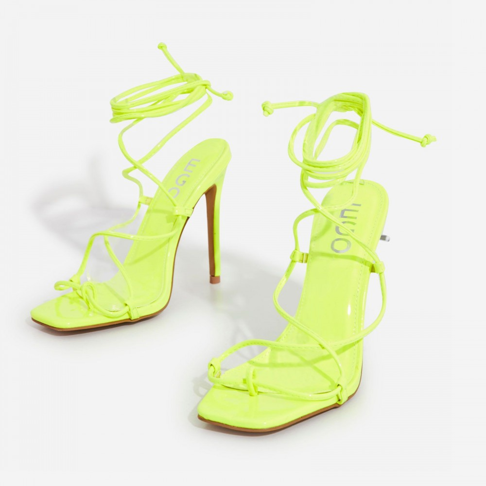 Paris Square Toe Lace Up Heel In Lime