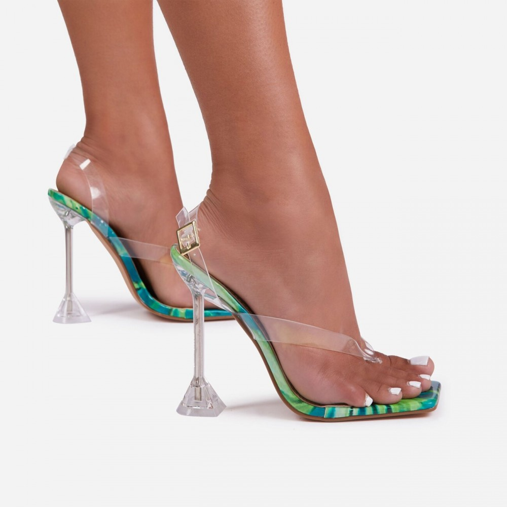 Empire Sling Back Square Toe Thong Clear Perspex
